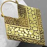 Solid brass texture diamond hoops