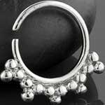 Silver sunburst septum ring