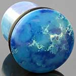 Single flare synthetic blue agate plug