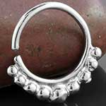 Silver beaded septum ring