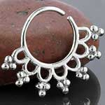 Silver beaded rays septum ring