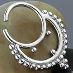 Silver ornate beaded septum ring