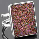 Sterling silver and titanium plated druzy ring (Size 9)