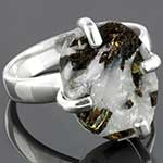 Sterling silver and tourmaline in quartz ring (Size 8)