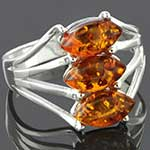Sterling silver and amber ring (Size 8.5)