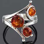Sterling silver and Baltic amber ring (Size 6.5)