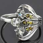 Sterling silver and CZ with peridot ring