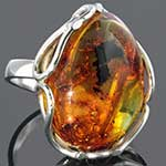 Sterling silver and Chiapas amber ring (Size 7)