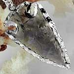 Silver plated smokey quartz arrowheads with silver coils