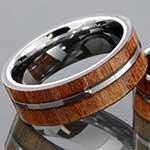 Tungsten ring with Koa wood inlay