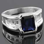 Sterling silver and iolite ring (Size 7)