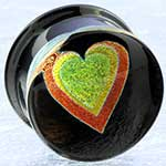Pyrex dichroic/foil heart plugs (Yellow heart/ bright orange outline)