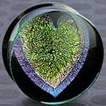 Pyrex dichroic/foil heart plugs (Lime heart/ purple and pink outline)