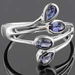 Sterling silver and faceted iolite ring (Size 10)