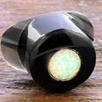 Obsidain labret with synthetic opal inlay