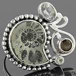 Sterling silver and ammonite with smokey quartz and aquamarine ring (size 8)
