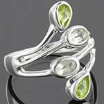 Sterling silver and peridot with aquamarine ring (Size 6.5)