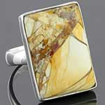 Sterling silver and picture jasper ring (Size 8.5)