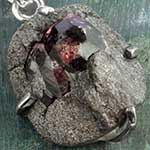 Raw garnet and silver necklace