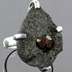 Sterling silver and raw garnet ring
