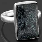 Sterling silver and black glitter ring