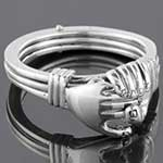 Sterling silver two hands and a heart ring