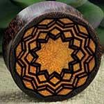 Arang wood etched mandala plug
