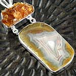Citrine druzy with agate silver necklace