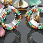 Titanium opal gemmed eyelets