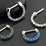 Prong set synthetic opal septum clicker
