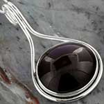 Smoky garnet and silver necklace