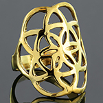 Brass flower of life ring
