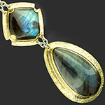 Solid brass and labradorite weights