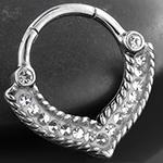 Embellished point septum clicker ring