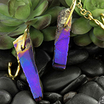 Solid brass and titanium coated chalcedony dangles