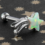 Shooting star synthetic opal barbell