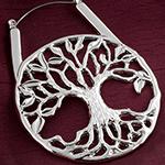 Tree of life hoop earrings