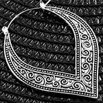 Swirl teardrop hoop earrings