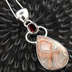 Agate and garnet silver necklace
