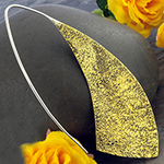 Silver and textured brass blade earrings