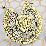 Brass ornate lotus hoop earrings