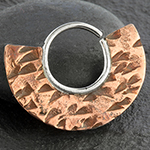 Silver and copper hammered fan seamless ring