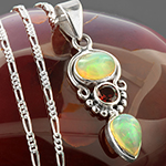 Opal and garnet silver necklace