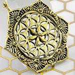 Brass seed of life hoop earrings