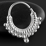 Silver double beaded seamless septum ring