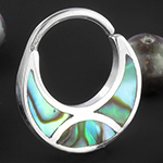 Silver plated abalone shell seamless ring