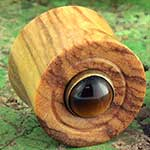 Olivewood plugs with tiger eye inlays