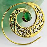Brass stone swirl hoops