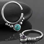 Silver cabochon beaded seamless ring