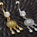 Jeweled mandala dangle navel